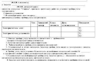 Акт допуска прибора учета электроэнергии в эксплуатацию